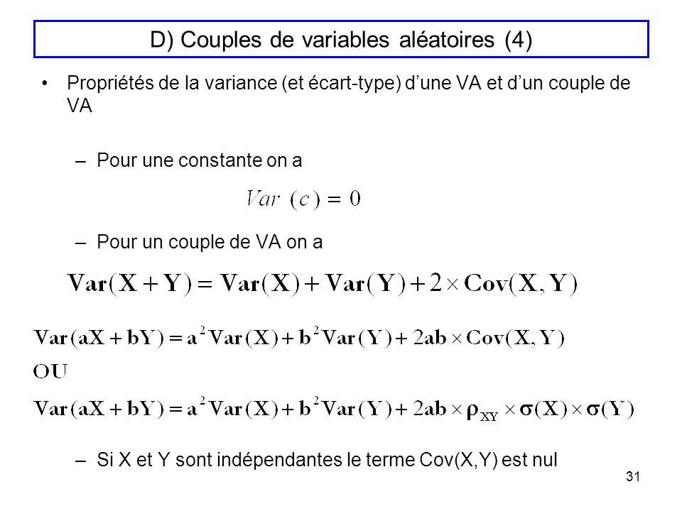 D) Couples de variables aléatoires (4)