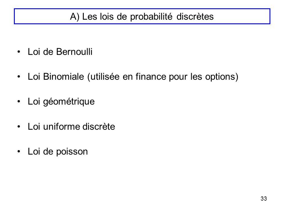 A) Les lois de probabilité discrètes