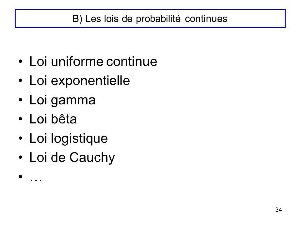 B) Les lois de probabilité continues