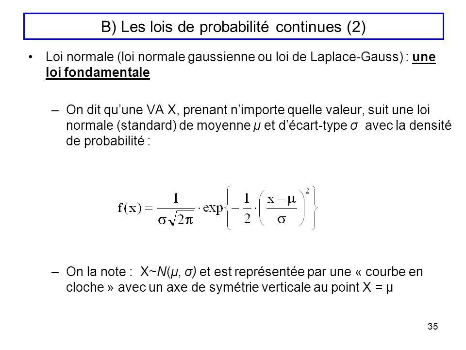 B) Les lois de probabilité continues (2)