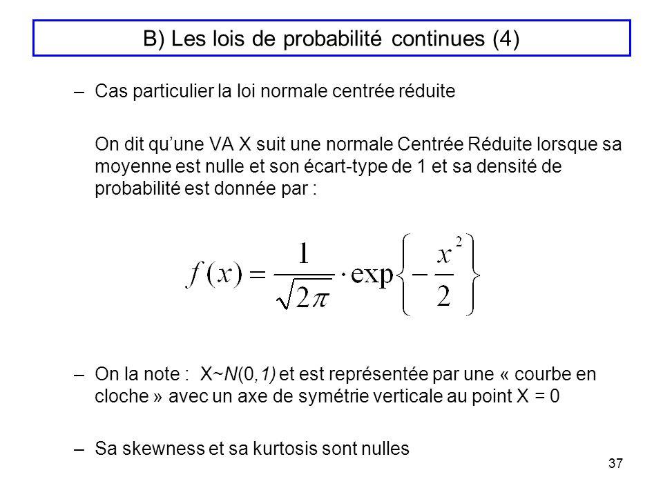 B) Les lois de probabilité continues (4)