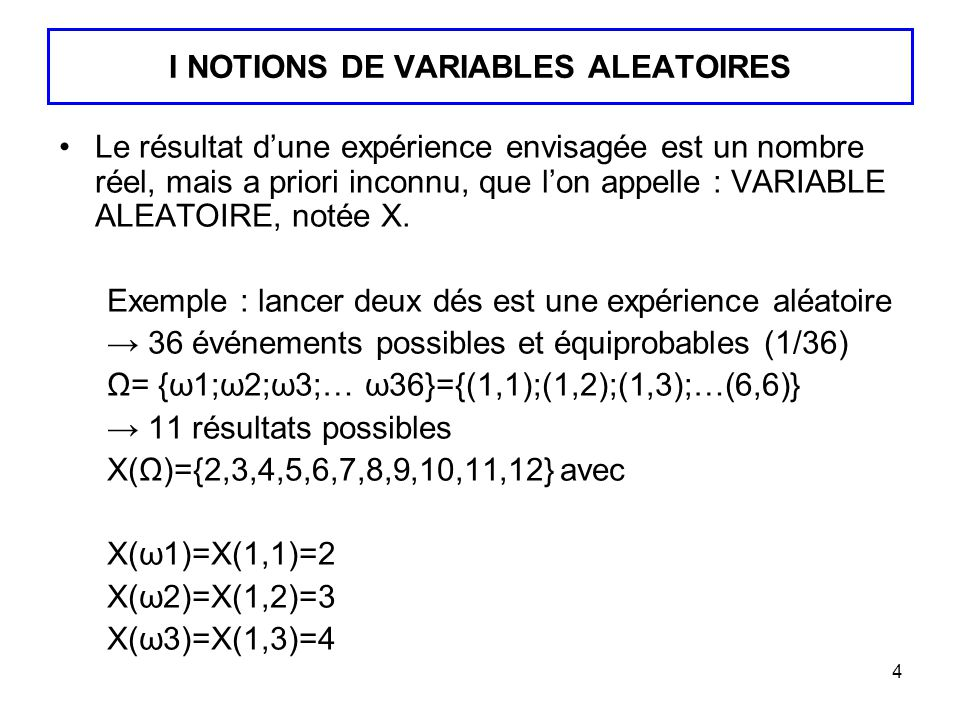 I NOTIONS DE VARIABLES ALEATOIRES