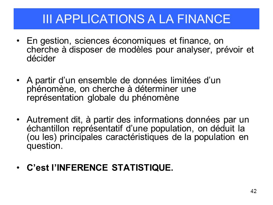 III APPLICATIONS A LA FINANCE