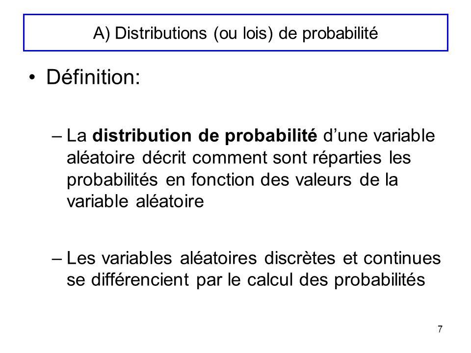 A) Distributions (ou lois) de probabilité