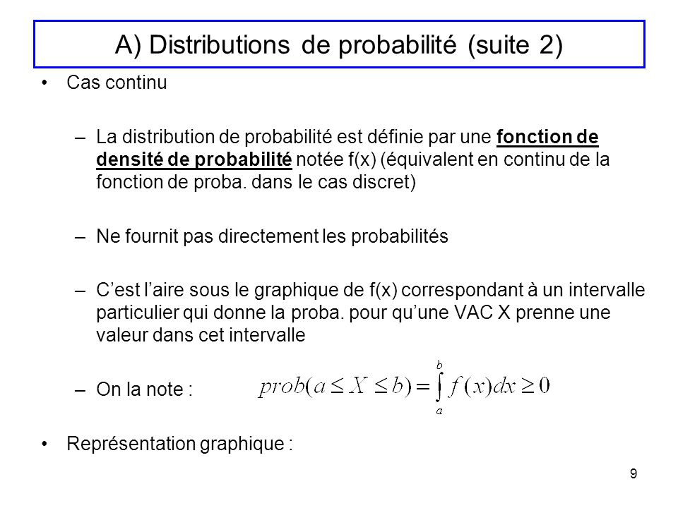 A) Distributions de probabilité (suite 2)