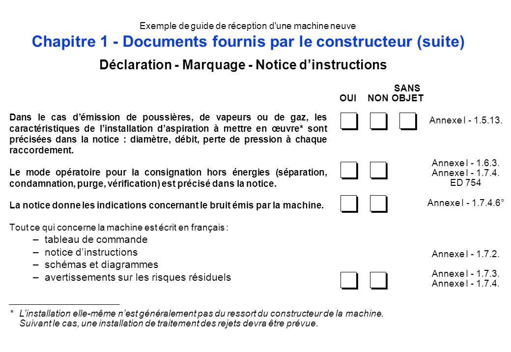Déclaration - Marquage - Notice d'instructions