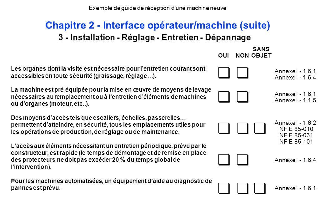 3 - Installation - Réglage - Entretien - Dépannage