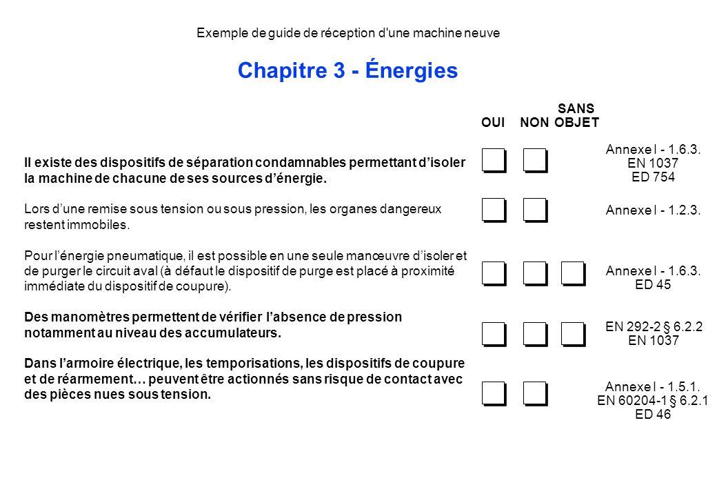 Exemple de guide de réception d une machine neuve Chapitre 3 - Énergies