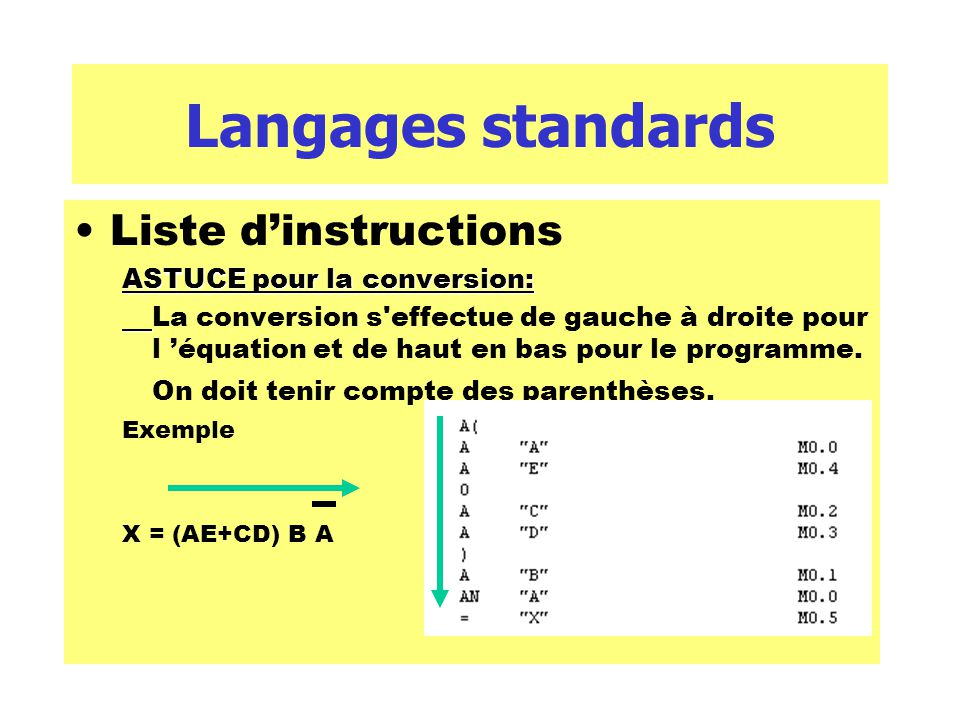 Langages standards Liste d'instructions ASTUCE pour la conversion: