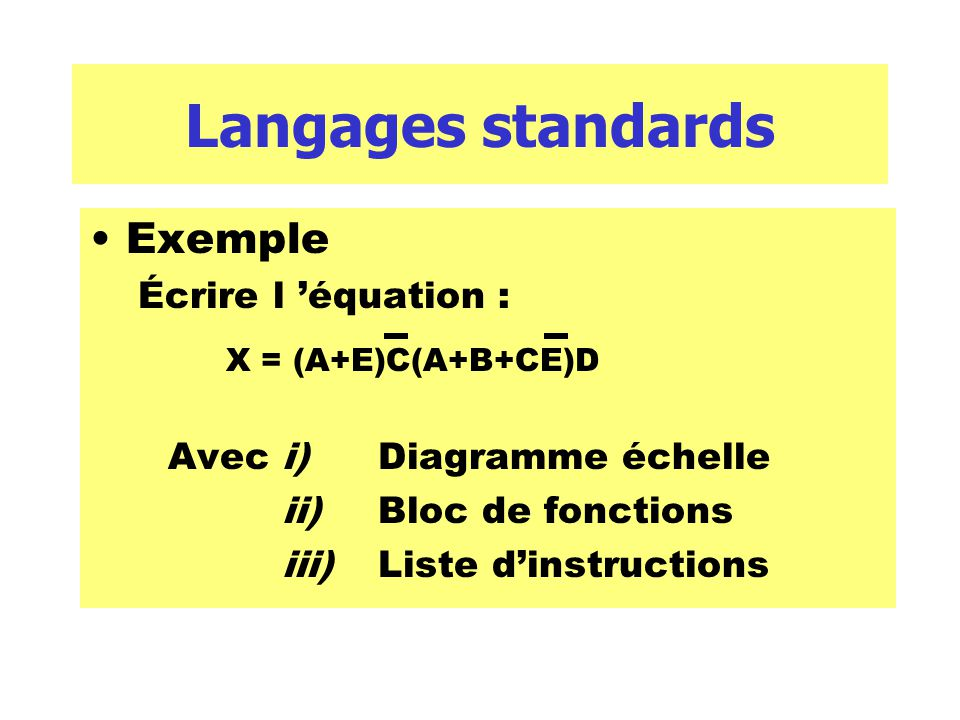 Langages standards Exemple Écrire l 'équation :