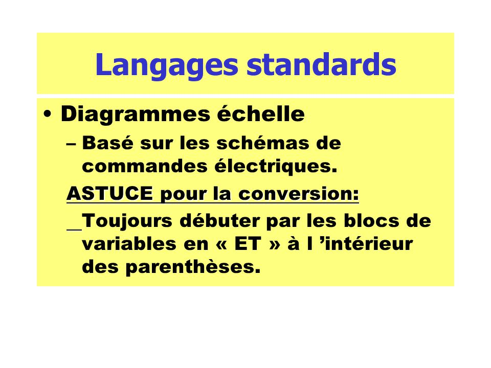 Langages standards Diagrammes échelle