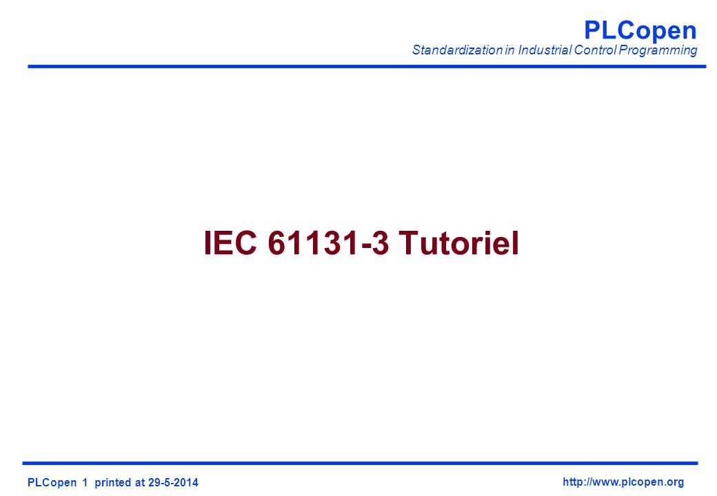 IEC 61131-3 Tutoriel Welcom in the notes view,