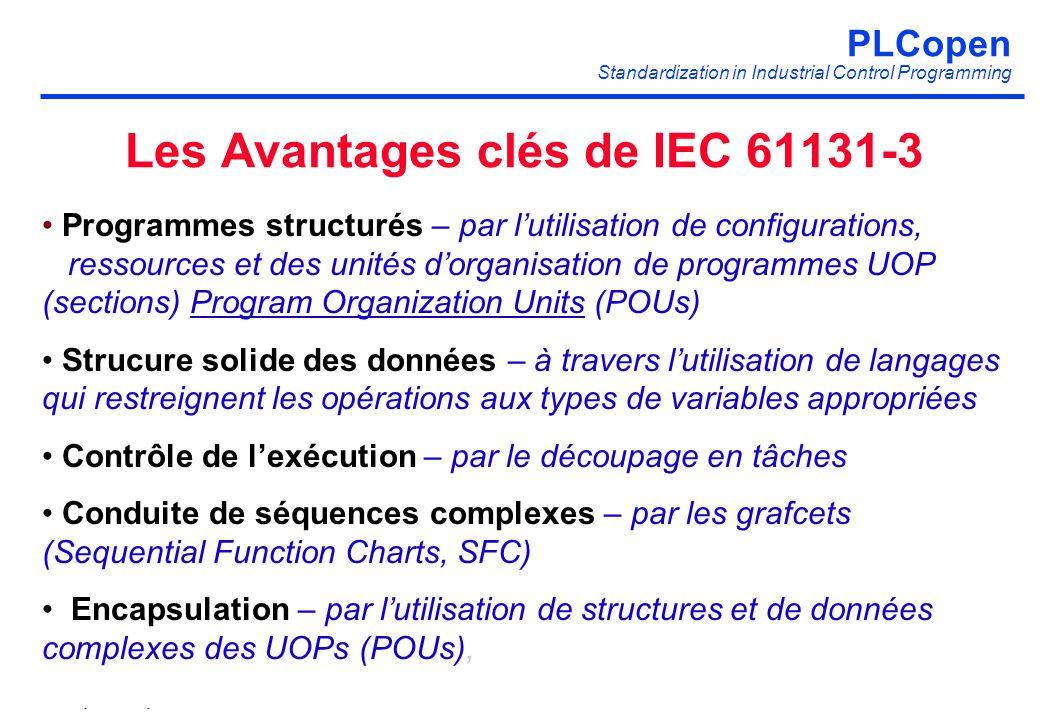 Les Avantages clés de IEC 61131-3