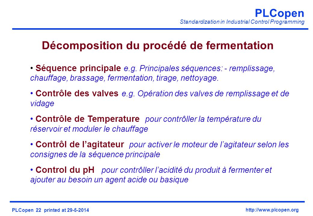 Décomposition du procédé de fermentation