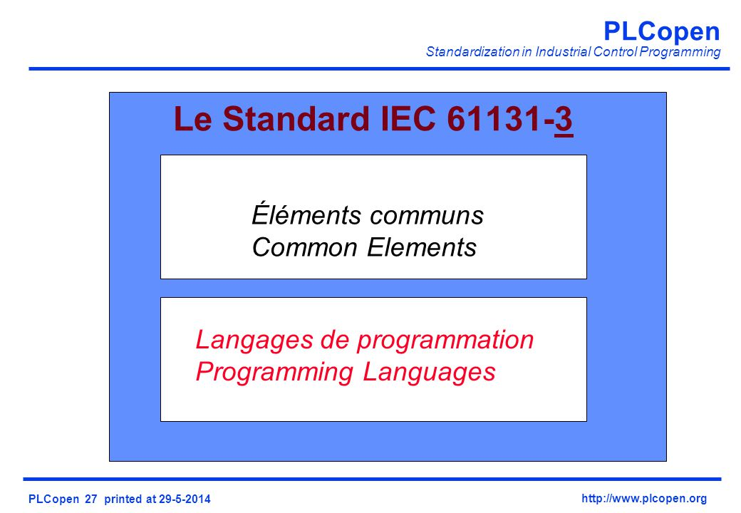 Le Standard IEC 61131-3 Éléments communs Common Elements