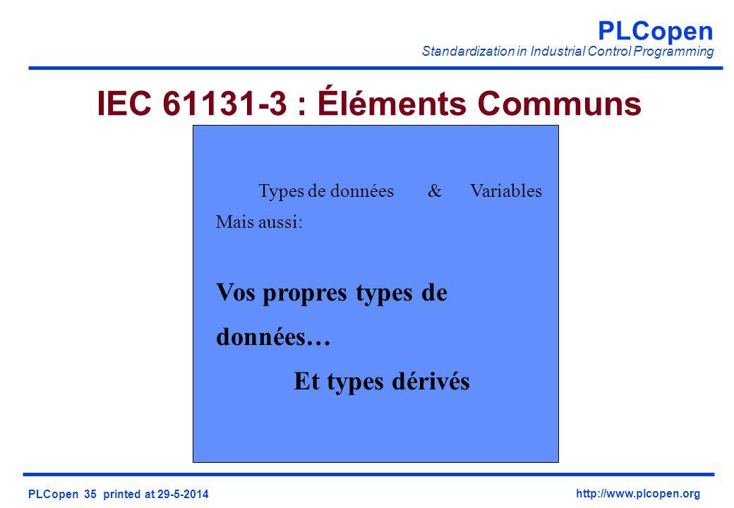 IEC 61131-3 : Éléments Communs