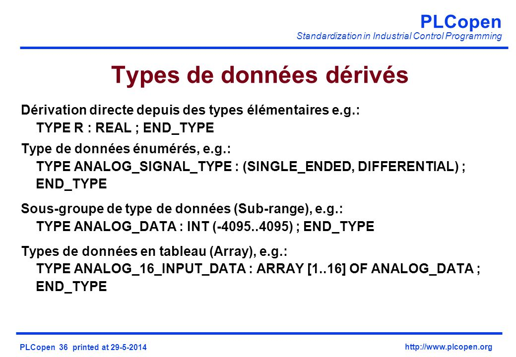 Types de données dérivés