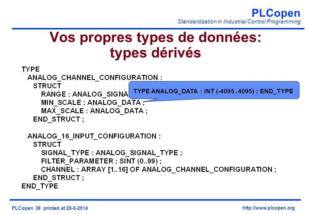 Vos propres types de données: types dérivés