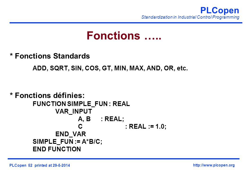Fonctions ….. * Fonctions Standards