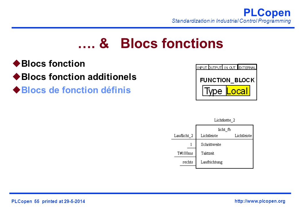 …. & Blocs fonctions Blocs fonction Blocs fonction additionels
