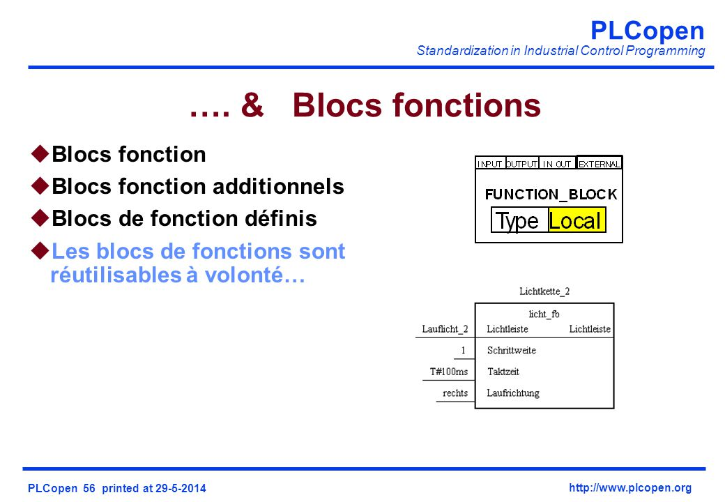 …. & Blocs fonctions Blocs fonction Blocs fonction additionnels
