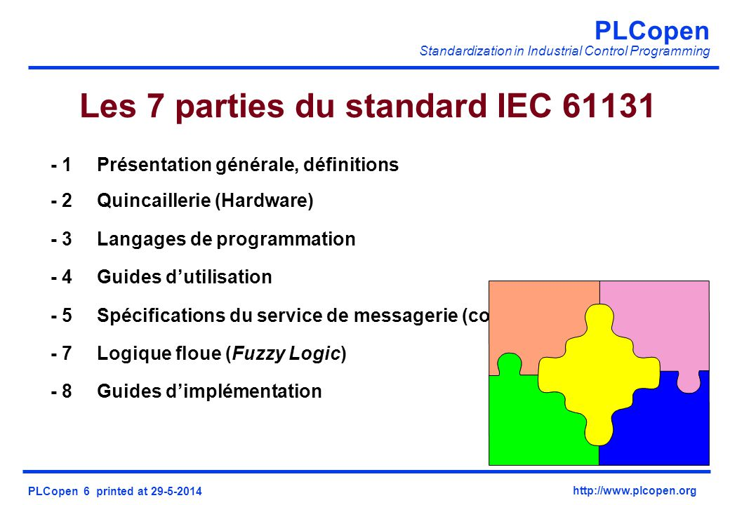 Les 7 parties du standard IEC 61131
