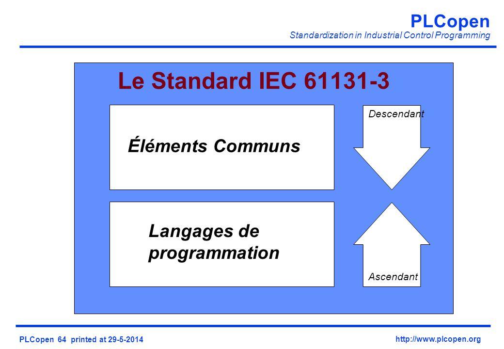Le Standard IEC 61131-3 Éléments Communs Langages de programmation