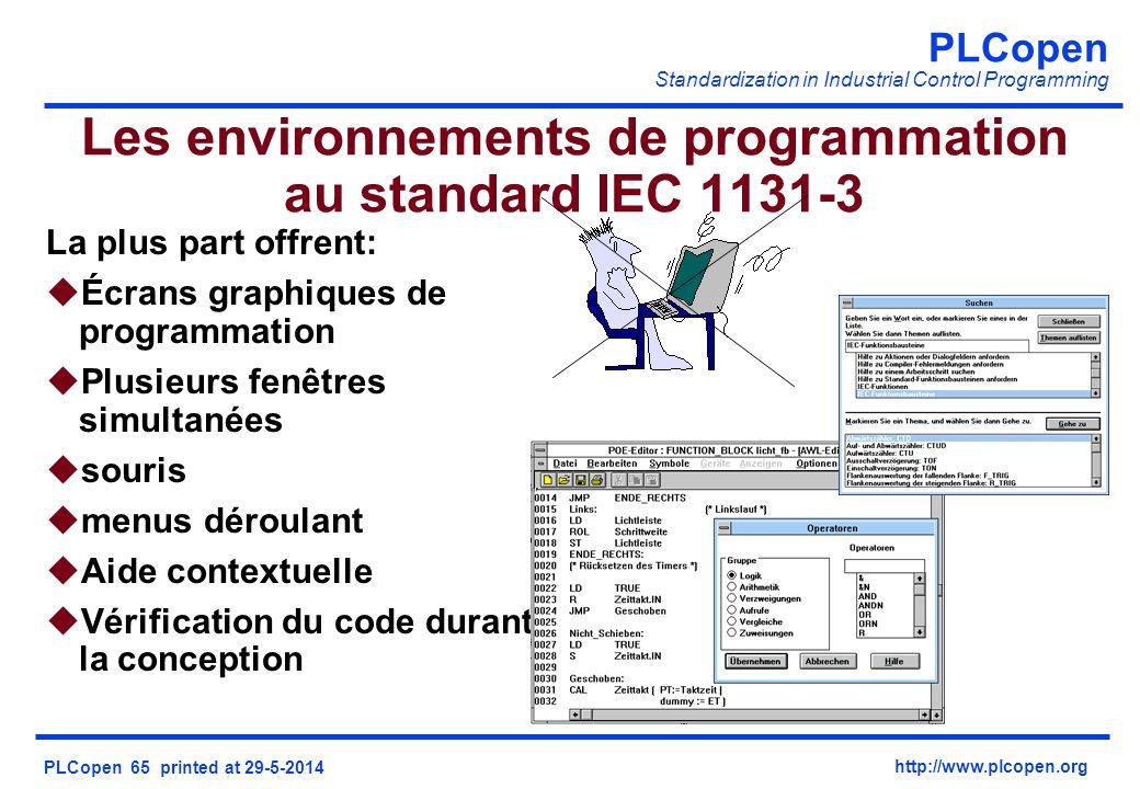 Les environnements de programmation au standard IEC 1131-3