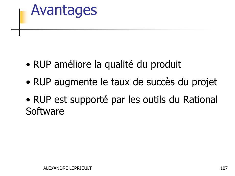 Avantages RUP améliore la qualité du produit