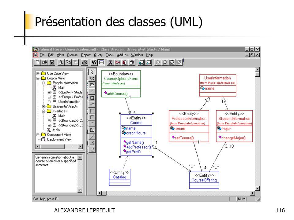 Présentation des classes (UML)