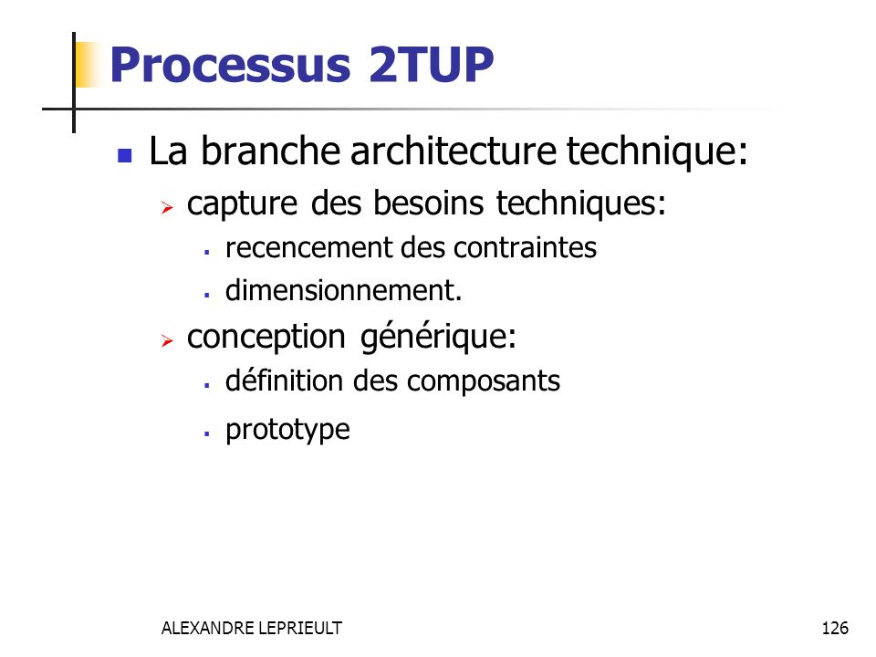 Processus 2TUP La branche architecture technique: