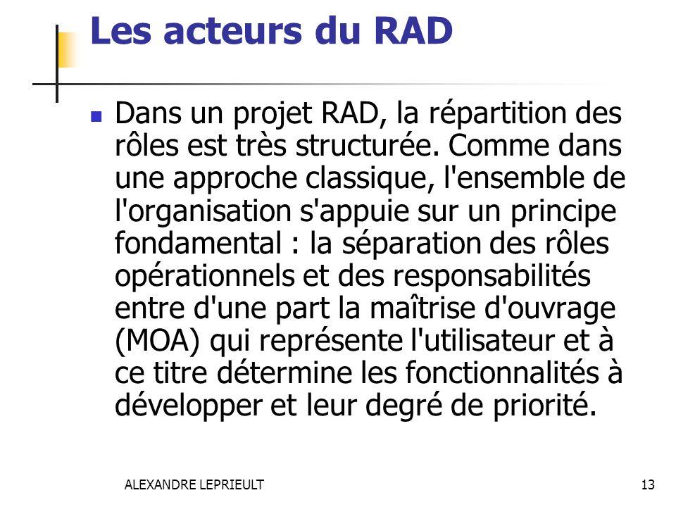 Les acteurs du RAD