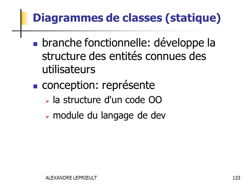 Diagrammes de classes (statique)