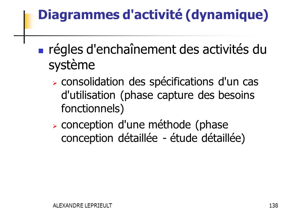 Diagrammes d activité (dynamique)