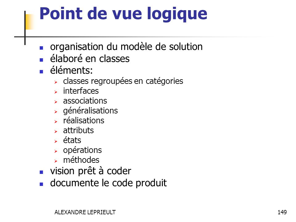 Point de vue logique organisation du modèle de solution