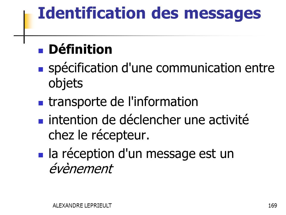 Identification des messages