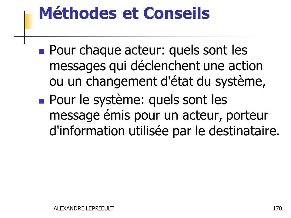 Méthodes et Conseils Pour chaque acteur: quels sont les messages qui déclenchent une action ou un changement d état du système,