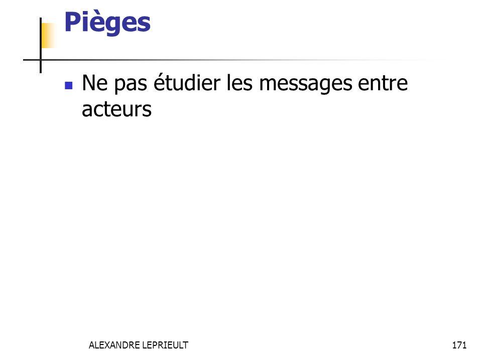 Pièges Ne pas étudier les messages entre acteurs ALEXANDRE LEPRIEULT