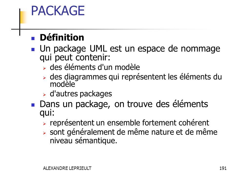 PACKAGE Définition. Un package UML est un espace de nommage qui peut contenir: des éléments d un modèle.