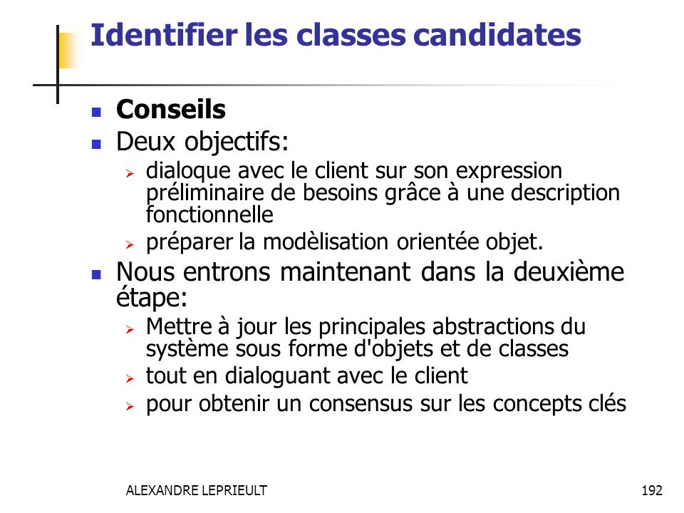 Identifier les classes candidates