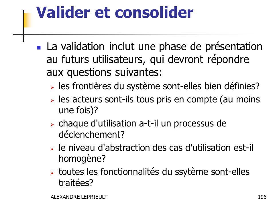 Valider et consolider La validation inclut une phase de présentation au futurs utilisateurs, qui devront répondre aux questions suivantes: