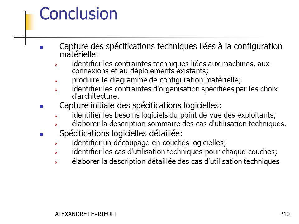 Conclusion Capture des spécifications techniques liées à la configuration matérielle: