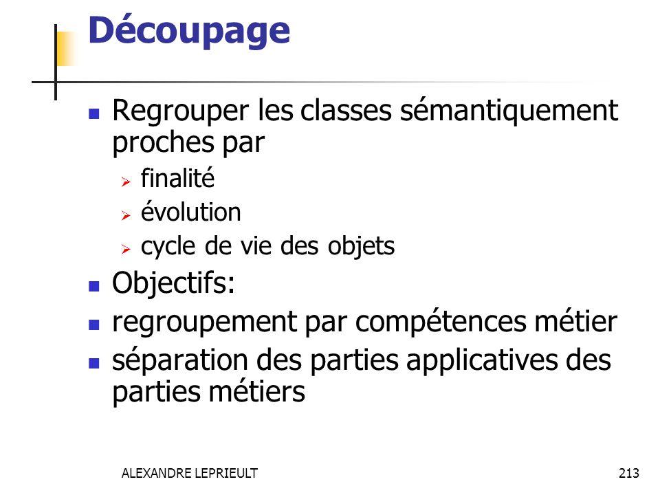 Découpage Regrouper les classes sémantiquement proches par Objectifs: