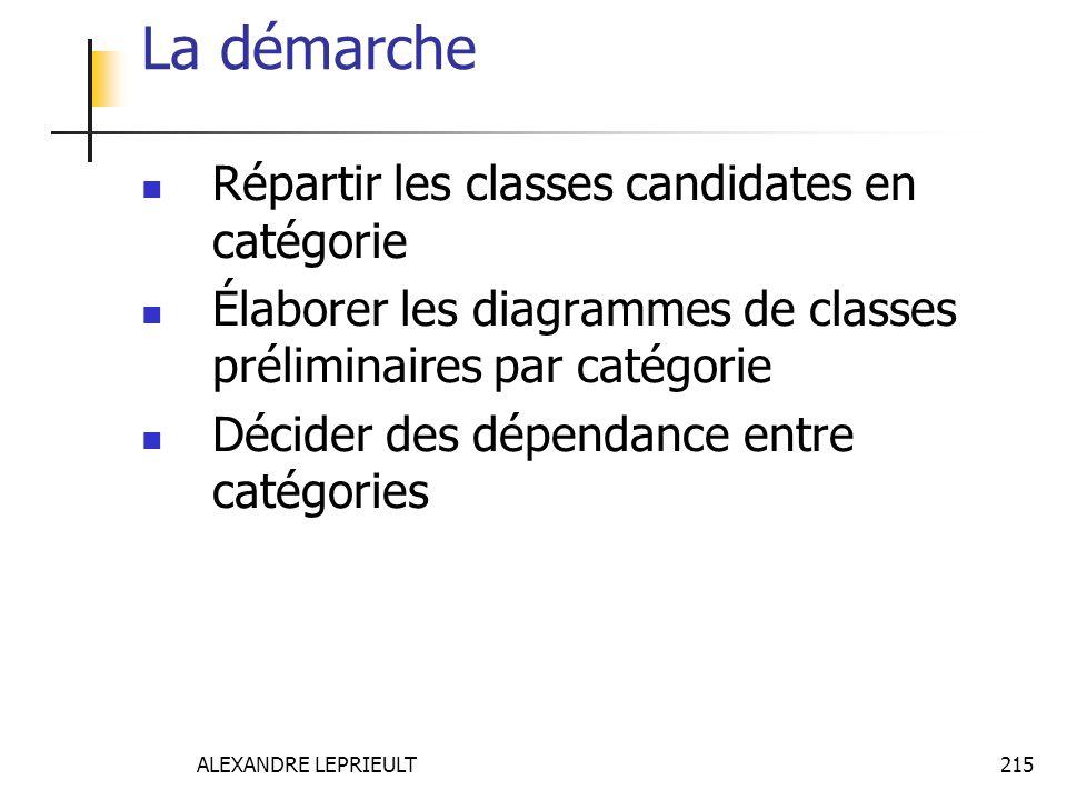 La démarche Répartir les classes candidates en catégorie