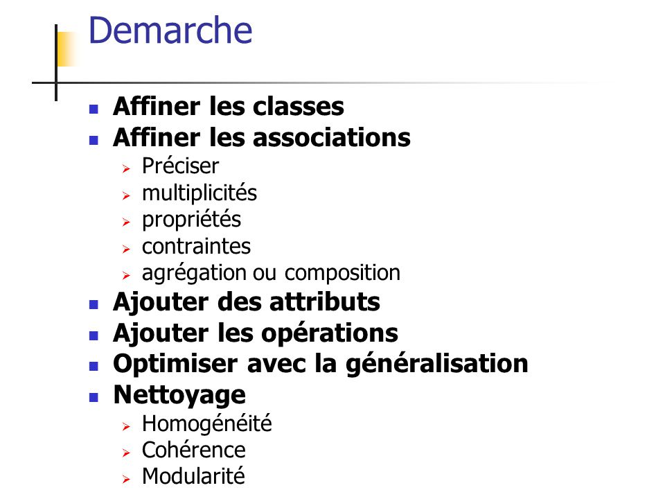 Demarche Affiner les classes Affiner les associations