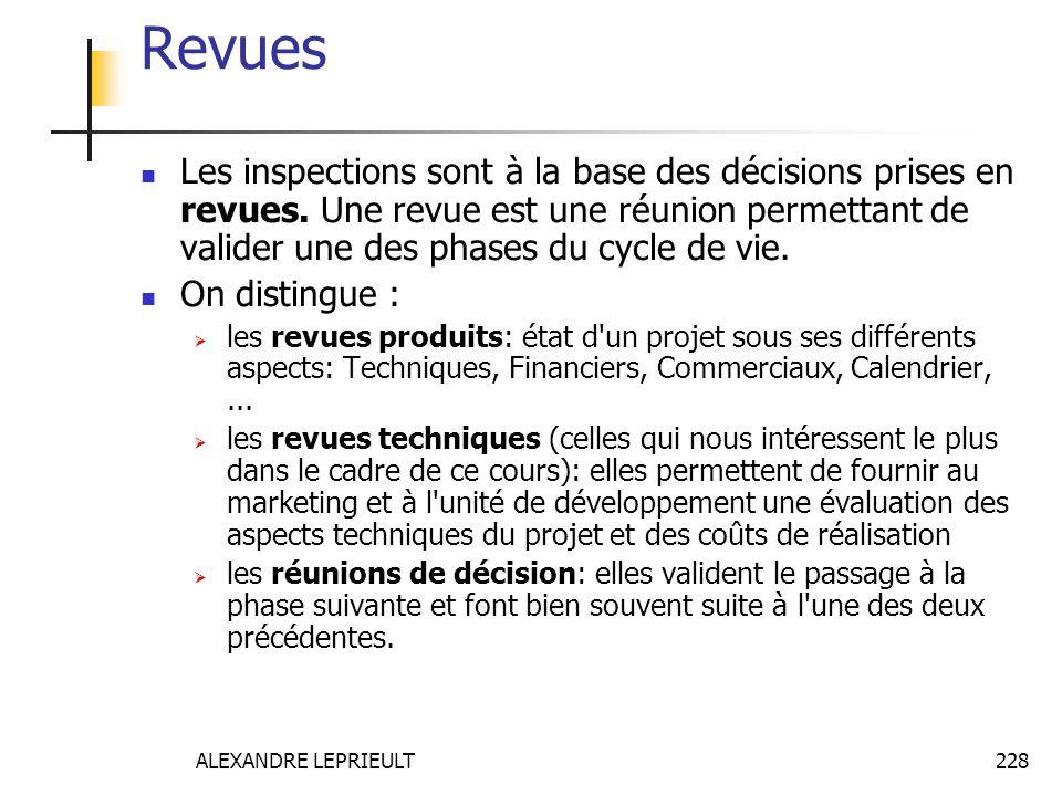 Revues Les inspections sont à la base des décisions prises en revues. Une revue est une réunion permettant de valider une des phases du cycle de vie.