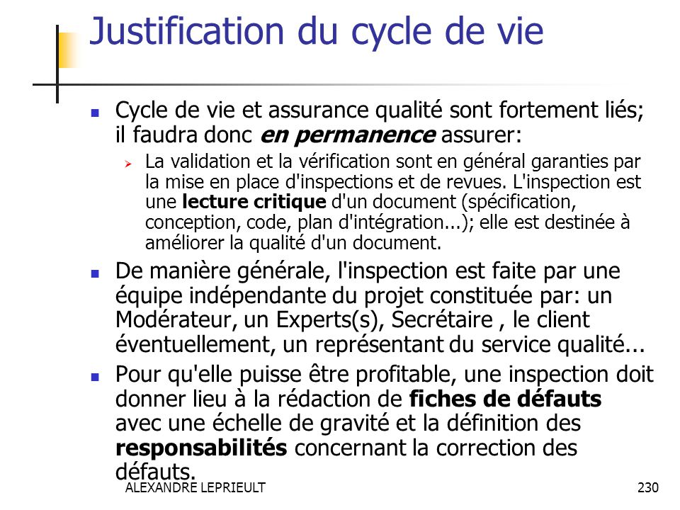 Justification du cycle de vie