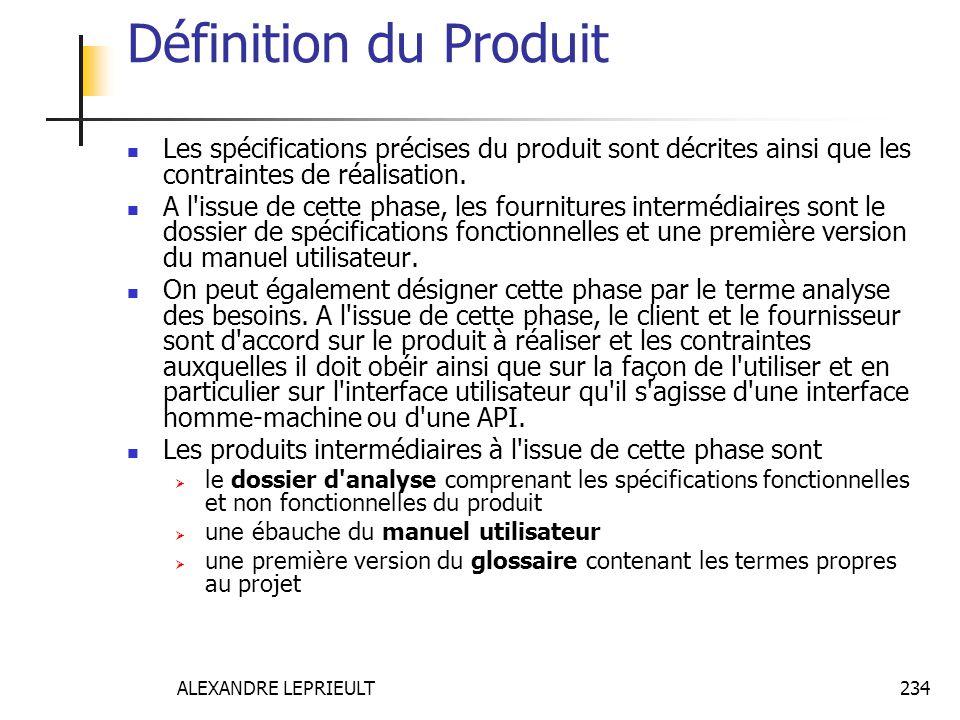 Définition du Produit Les spécifications précises du produit sont décrites ainsi que les contraintes de réalisation.