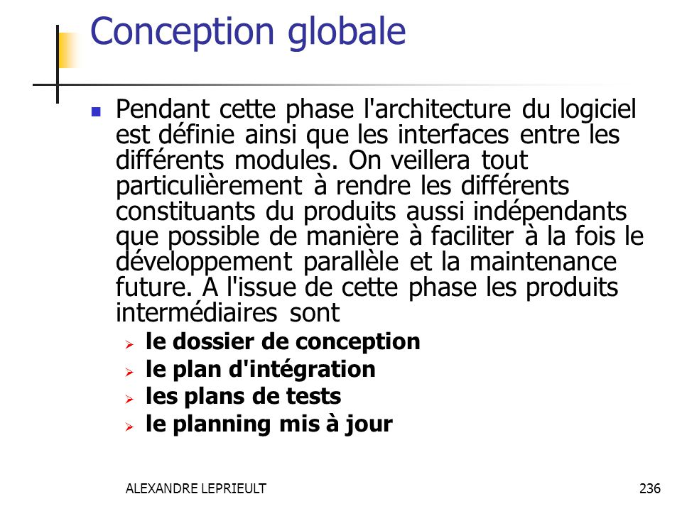 Conception globale