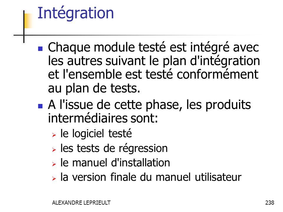 Intégration Chaque module testé est intégré avec les autres suivant le plan d intégration et l ensemble est testé conformément au plan de tests.